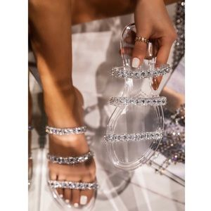 Shoes - Clear Jelly Slip On Sandals With Rhinestone Detail